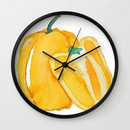 yellow bell pepper watercolor Wall Clock