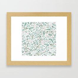 Green Leaves and Red Berries. Framed Art Print