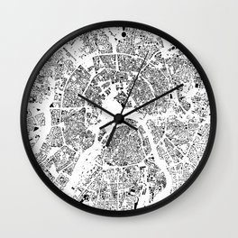 Moscow Map Schwarzplan Only Buildings Wall Clock