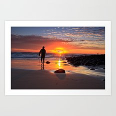 Evening Sunset Surfing Art Print