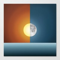 sun and moon Canvas Prints featuring Sun & Moon by Angelina Fenty