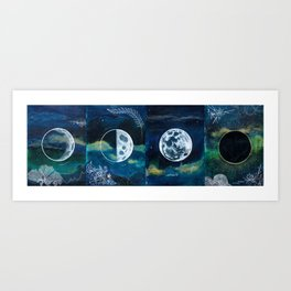 Moon Phase Mixed Media Painting Art Print