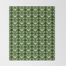 Grassy rhombuses of white stars with hearts in a bright intersection. Throw Blanket