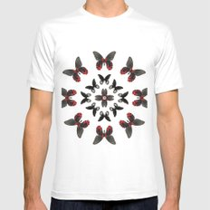 Scarlet Mormon Butterfly Circle White MEDIUM Mens Fitted Tee