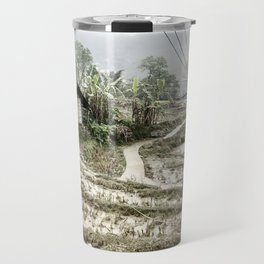 Beautiful foggy SaPa Vietnam rice fields cold winter Travel Mug