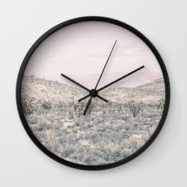Mojave Pink Dusk // Desert Cactus Landscape Soft Cloudy Sky Mountain Scape Photograph Wall Clock