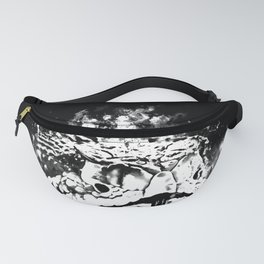 rattlesnake close up splatter watercolor black white Fanny Pack