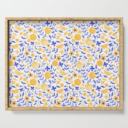 Orange and Flowers - Yellow and Blue Serving Tray
