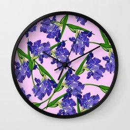 Watercolour Iris pattern pink background Wall Clock