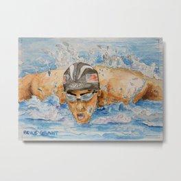 Michael Phelps Swimmer Metal Print