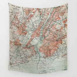 Vintage Map New York Wall Tapestry
