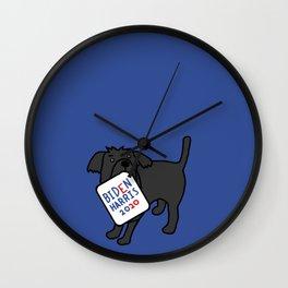 Cute Dog with Biden Harris Sign Wall Clock