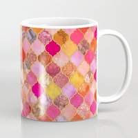 bedding Mugs featuring Hot Pink, Gold, Tangerine & Taupe Decorative Moroccan Tile Pattern by micklyn