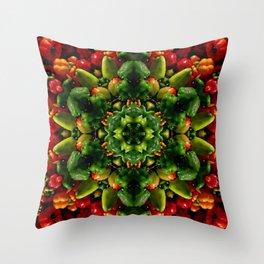 Peppy pepper mandala - green center Throw Pillow