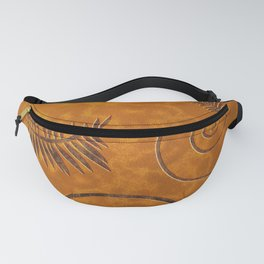 Graphic Fossil Leaf and Shell Shapes Red Sand Pattern Fanny Pack