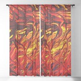 Molten Firegrass V by Chris Sparks Sheer Curtain