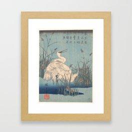Egret in Iris and Grasses, Hiroshige Framed Art Print