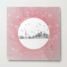 Beijing, China City Skyline Illustration Drawing Metal Print