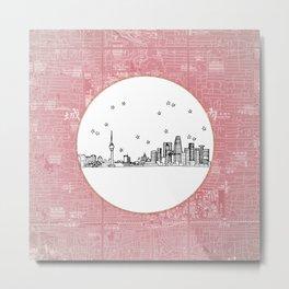 Beijing, China City Skyline Illustration Drawing Metal Print