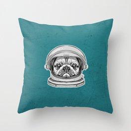 Astronaut Pug Throw Pillow
