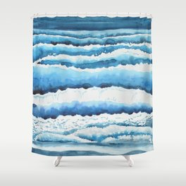 Watercolour waves crashing on the shore Shower Curtain