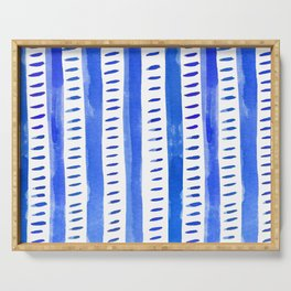 Watercolor lines - blue Serving Tray