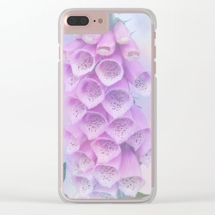 Pastel painterly foxgloves Clear iPhone Case