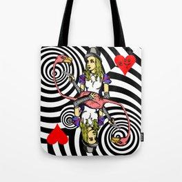 Alice and Flamingo Vortex Tote Bag