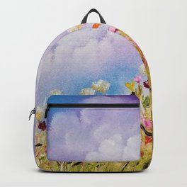 Look to the light, skyscape, landscape, flowers, wild flowers, clouds Backpack