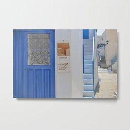 Blue Door - Milos - Landscape and Rural Art Photography Metal Print