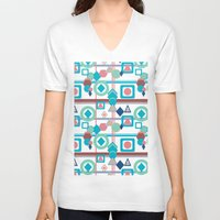 pantone V-neck T-shirts featuring Geometric Spring Pantone Palette by naturessol