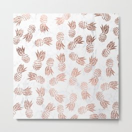 Modern faux rose gold pineapples white marble pattern Metal Print