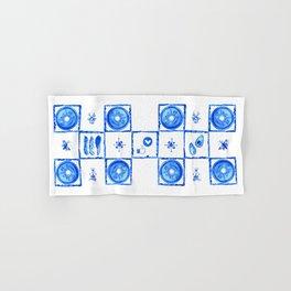 "Watercolor ""Cheat Day"" in Delft (Dutch) Blue Tile Hand & Bath Towel"