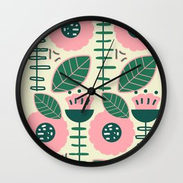 Modern flowers and leaves Wall Clock