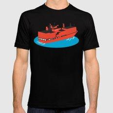 container cargo ship retro Mens Fitted Tee MEDIUM Black