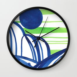 Lime and blue abstract landscape Wall Clock