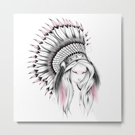 Indian Headdress Pink Version Metal Print