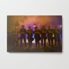 Riot Police Line - Orange/Blue  Metal Print