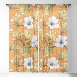 Magnolia garden in yellow Sheer Curtain