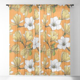 Magnolia garden in yellow Sheer Curtain