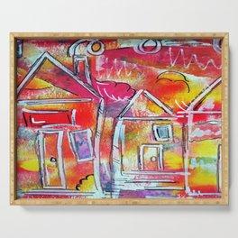Orange Neon Houses Serving Tray
