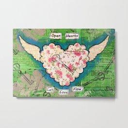 Open Hearts - Let Love Flow Metal Print