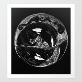 Orca Flow black-and-white Art Print