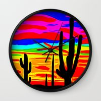 cacti Wall Clocks featuring Cacti by Relic X