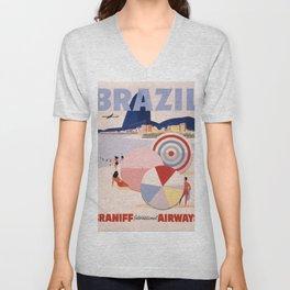 Vintage Brazil Poster Unisex V-Neck