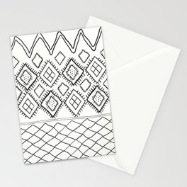 Beni Moroccan Print in Cream and Black Stationery Cards
