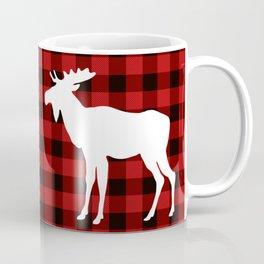 White Moose | Red Buffalo Plaid Coffee Mug