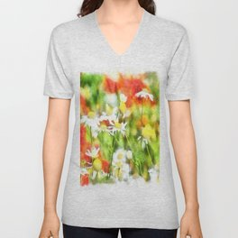 The Colors Of Spring On A Sunny Day Watercolor Unisex V-Neck