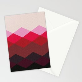 Abstract argyle pattern, mountain landscape - white, pink, red, brown, black Stationery Cards