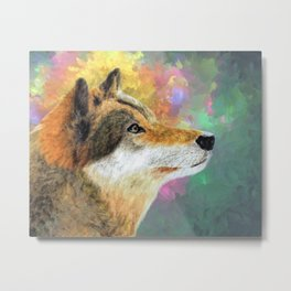 Wolf in the Wild Colors of the Wind Metal Print